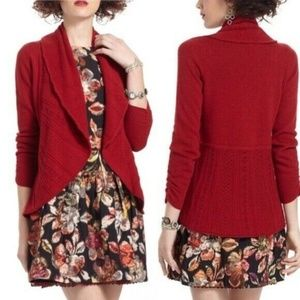 Anthropologie Knitted Knotted Red Eyelet Cardi
